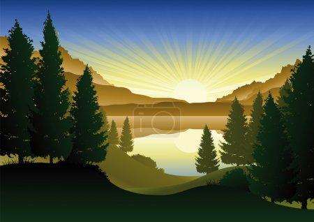Illustration pour Illustration d'un paysage naturel avec un lac au centre - image libre de droit