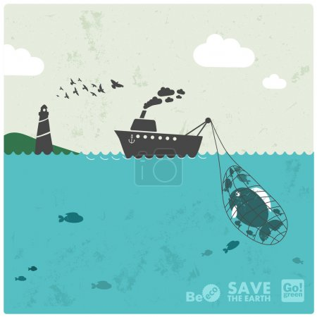 "Fishing industry background - eco balance ""don't take too much"""