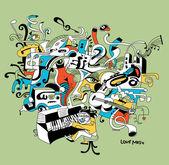 """Постер, картина, фотообои """"Творческие иллюстрации музыкант, играющий на фортепиано - абстрактный музыкальная концепция"""""""