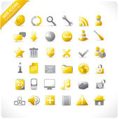 New set of 36 glossy web icons in yellow and grey