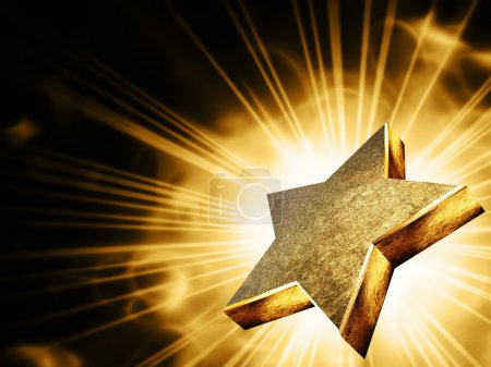 Photo for A gold star in the rays of light - Royalty Free Image