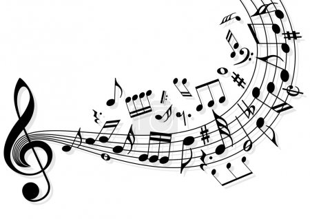 Illustration for Musical notes flying over the stave - Royalty Free Image
