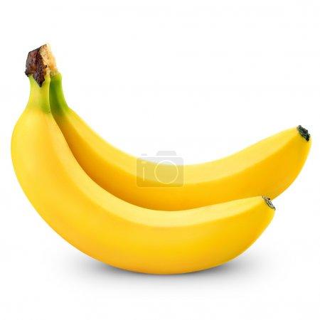 Foto de Dos bananas aisladas sobre fondo blanco - Imagen libre de derechos