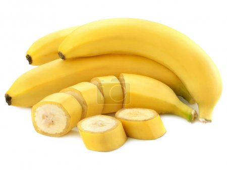 Foto de Rodajas de plátano aislados en fondo blanco - Imagen libre de derechos