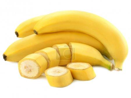 Photo for Sliced bananas isolated on white background - Royalty Free Image