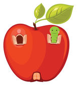 Apple worm vector illustration
