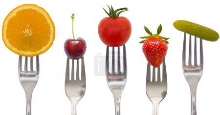 Diet concept, snack of vegetables and fruits