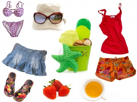 Clothes and other equipment for the beach