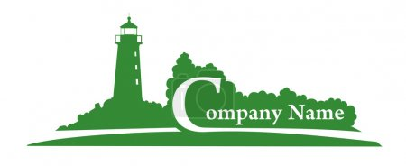 Green Lighthouse vector logo for your company