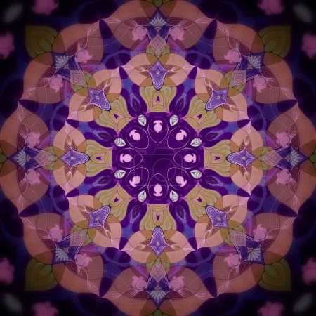 Photo for Ornamental round floral pattern. kaleidoscopic floral pattern, eight-pointed mandala. Fractal mosaic background. High resolution abstract image - Royalty Free Image