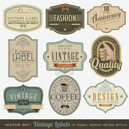 Illustration for Vector set: vintage labels, inspired by antique originals. - Royalty Free Image