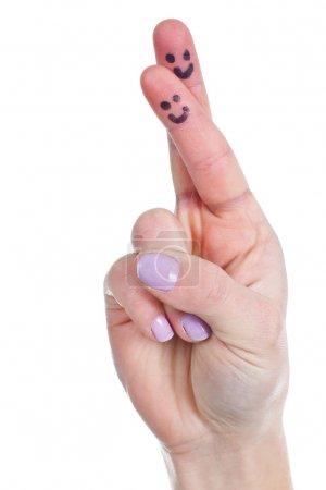 Funny female fingers crossed