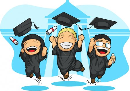 Illustration for A vector image of students graduating. Drawn in cartoon style, this vector is very good for design that needs school graduation element in cute, funny, colorful and cheerful style. - Royalty Free Image