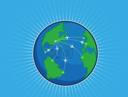 Airplane Route Around the World Globe