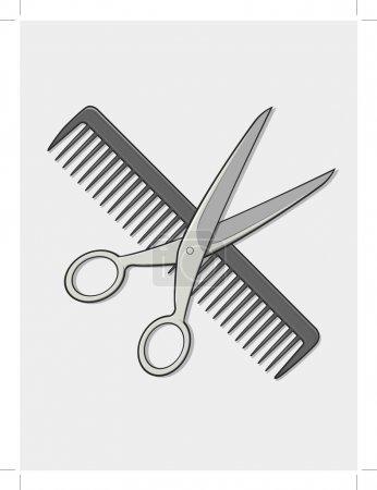 Illustration pour Une image vectorielle du ciseau et du peigne du coiffeur. Bon pour de nombreuses applications. Disponible en tant que vecteur au format EPS8 qui peut être adapté à n'importe quelle taille sans perte de qualité. Les éléments graphiques sont tous peuvent être déplacés ou modifiés individuellement. - image libre de droit