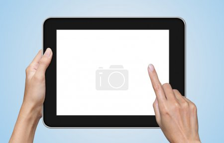 Hand touch screen on tablet computer