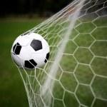 Soccer ball in goal...