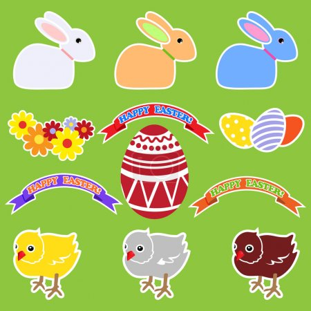 Set of elements by Easter: rabbits, chickens, flowers, tapes, eggs