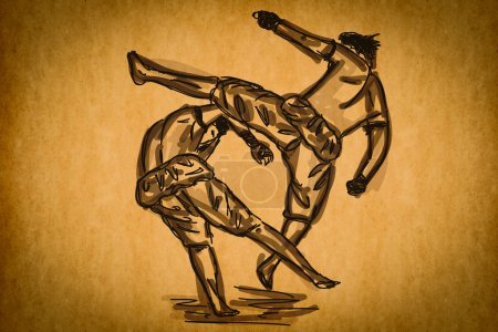 Photo for Free hand sketch Thai Boxing Collection : Muay Thai martial art popular around the world. - Royalty Free Image