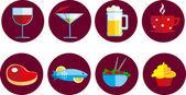 Sada ikon, jídlo a pití