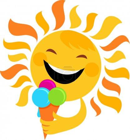 Smiling sun eating ice cream