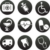 Collection of medical themed icons  black white