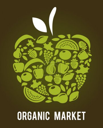 Illustration for Apple with fruits and vegetables pattern , vector illustration - Royalty Free Image