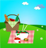 Summer picnic on green meadow vector illustration