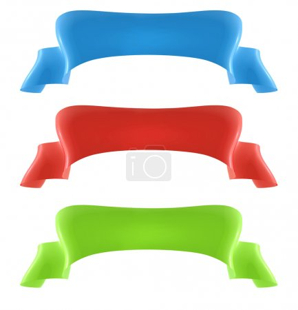Photo for Collection of 3D ribbon banners, in blue, red and green on isolated background. - Royalty Free Image