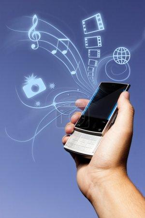 Photo concept of multimedia phone