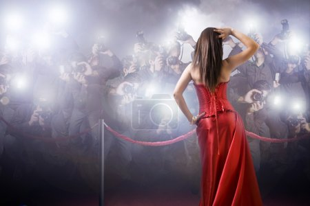 Photo for Famous woman posing in front of paparazzi - Royalty Free Image