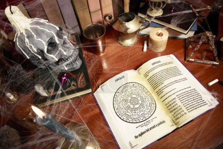 Top view of table full of witchcraft related objects and cobwebs