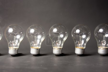 Concept of ideas with series of light bulbs