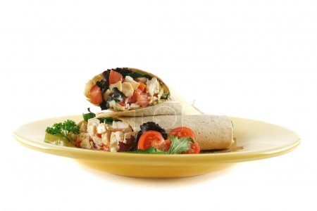 Photo for Healthy chicken and salad wrap ready to serve. - Royalty Free Image