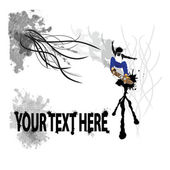 Skateboarder in midair with cool design for text