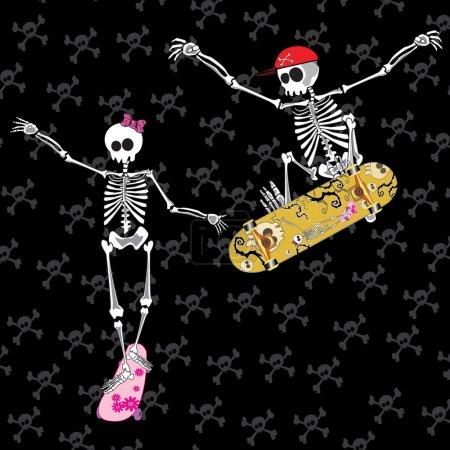 Illustration pour Squelette avec skateboard sautant avec arc sur la tête - image libre de droit