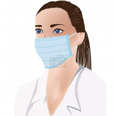 Female doctor with medical mask on face, white uniform