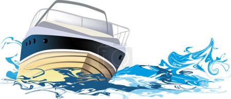 Illustration for Yacht at sea, vector illustration - Royalty Free Image