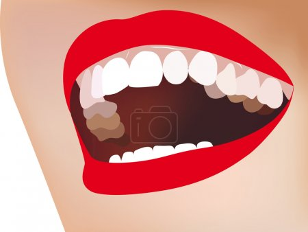White teeth, smile, red lips, vector illustration