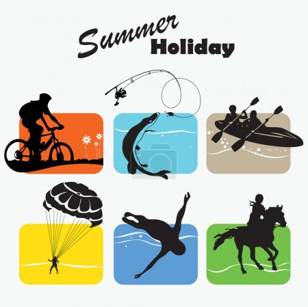 Illustration for Active rest, summer holiday, set icon, fishing, bicycler, canoe, boating, parachutist, swimmer, equestrian sport, vector illustration - Royalty Free Image