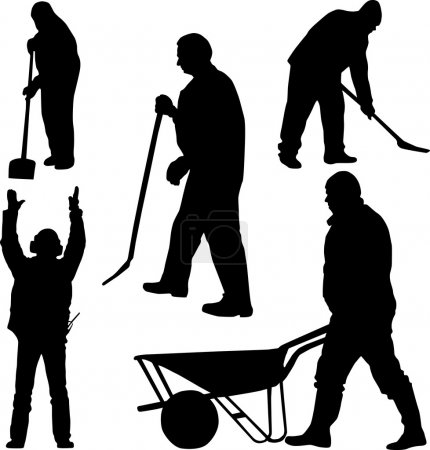 Illustration for Worker silhouette - Royalty Free Image