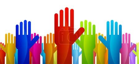 Illustration pour Mains colorées exprimant leur vote ou décision . - image libre de droit
