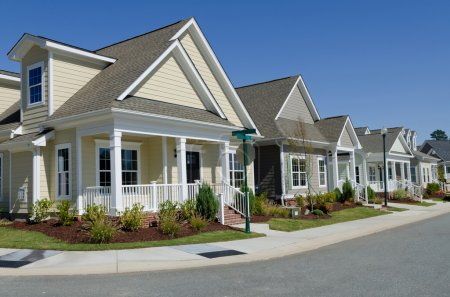 Photo for Street of residential houses in suburban area - Royalty Free Image