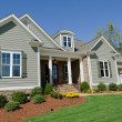 Suburban house exterior with landscaping...