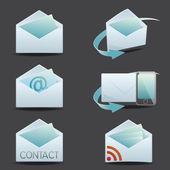 Envelopes opened envelope return email rss feed icon set