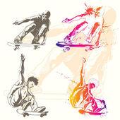 Sketch  grunge and splatter styled skater