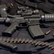 Modern weapon M4, black background...