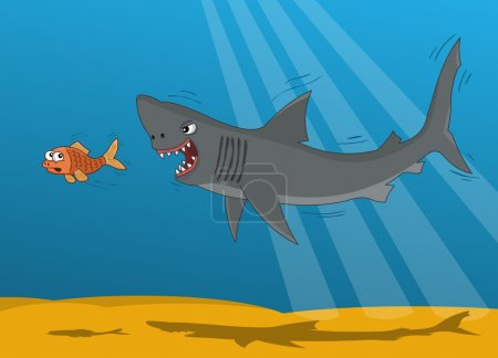 Cartoon shark and small gold fish...