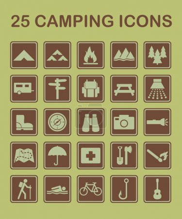 Illustration for Set of camping and nature related icons. - Royalty Free Image