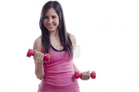 Beautiful woman working out with some weights